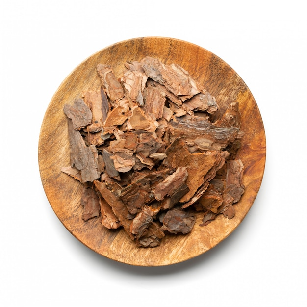 Heap of pine tree bark