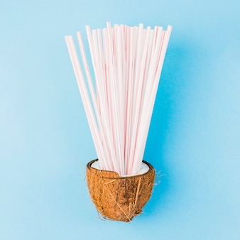 Heap of plastic straws in coconut