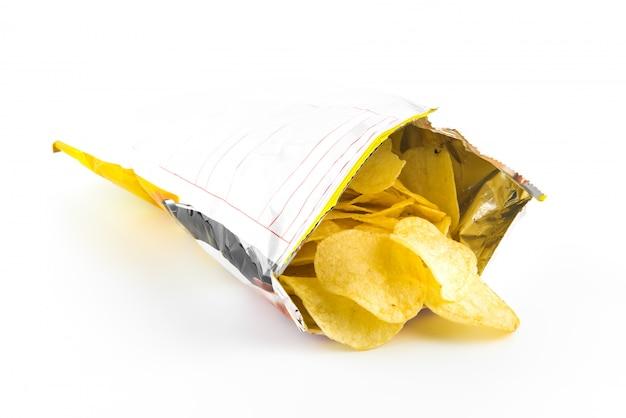 Heap of potato crisps on white