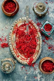 Heap of saffron spice