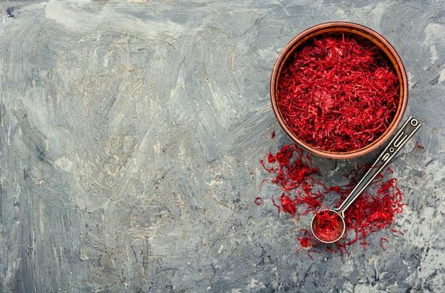 Heap of saffron threads
