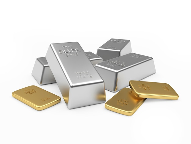 Heap of silver and golden bars