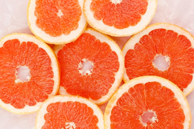 Heap of slices of grapefruit