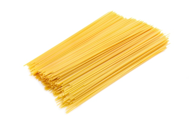 Heap of spaghetti isolated on white
