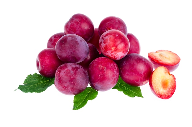 Heap of sweet red plums background