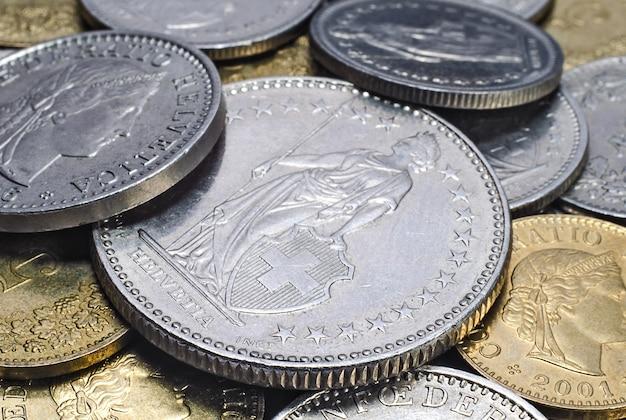 Heap of swiss coins close up