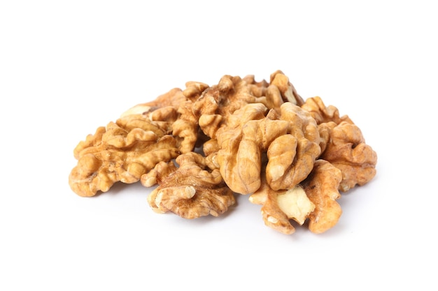 Heap of tasty walnuts isolated on white