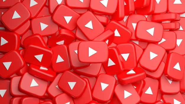 Heap of youtube play buttons for a background in 3d rendering