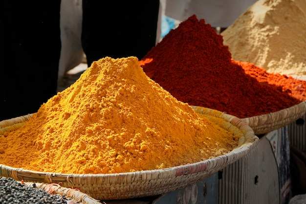Heaps of various ground spices