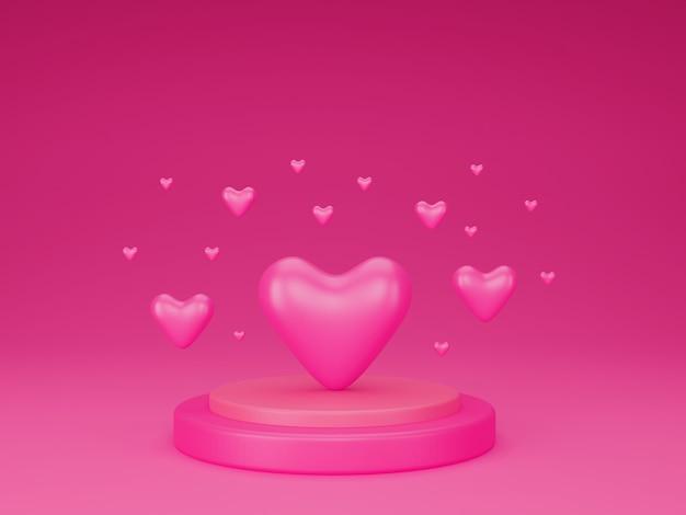 バレンタインコンセプトの表彰台に立つハートの3d。