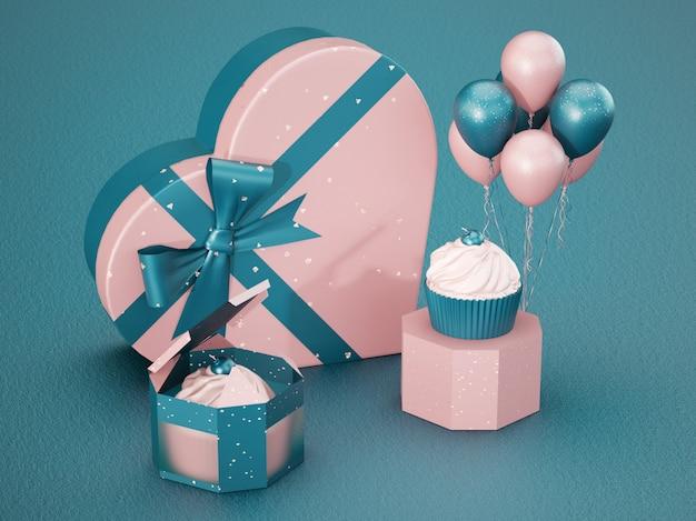 ハートとカップケーキ