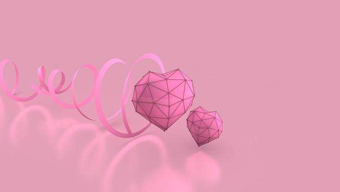 ピンクの背景にハートとリボン乳がんバンネ3dレンダリング3dレンダリング