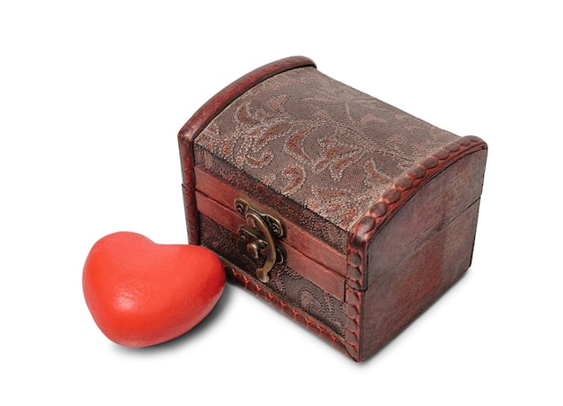 Heart and antique brown wooden chest isoleted on white background