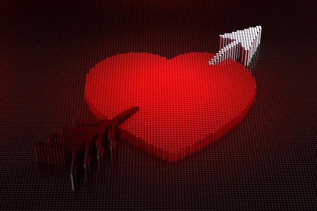 Heart and arrow pixel background. 3d rendering
