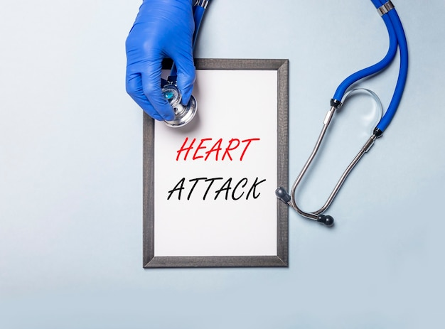 Heart attack inscription words. medical and health concept.