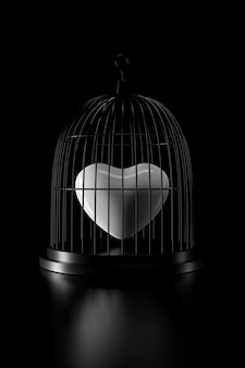 Heart in bird cage. 3d rendering.