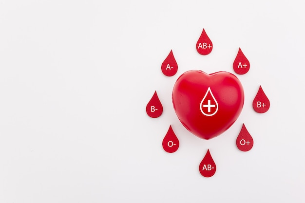 Heart and blood drops with different blood types