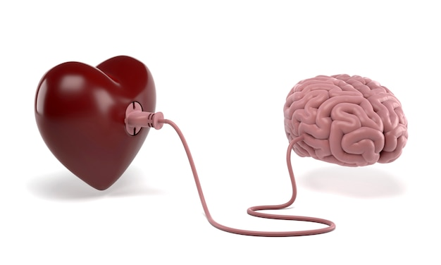 Heart and brain connected with power plug