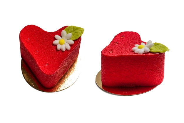 Heart cake isolated on a white surface. top view.