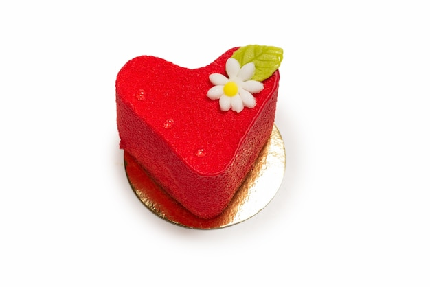 Heart cake isolated on a white surface