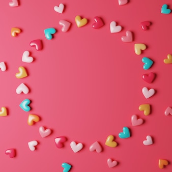 Heart candy arrange for circle frame on pink background