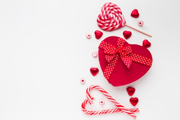 Heart candy box with yummy lollipop