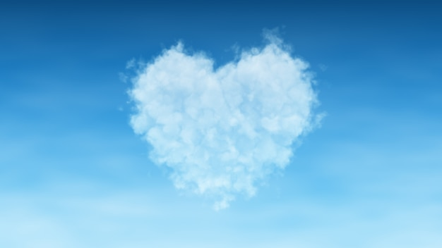 Heart cloud on sky