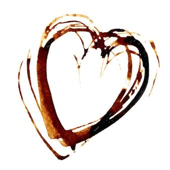 심장 - 흰색 배경에 고립 된 커피 얼룩