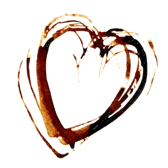 Heart - coffee stain isolated on the white background