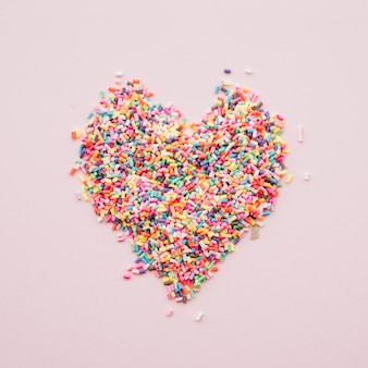 Heart of different colourful sweets