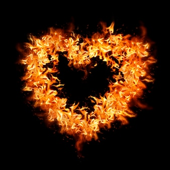 심장 불꽃 요소, 오렌지 크리에이 티브 디자인