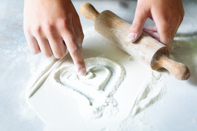Heart of flour. baking background