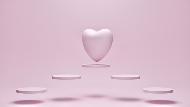 Heart on flying geometric with pink color background. mother's, valentine's day, birthday concept, 3d rendering.