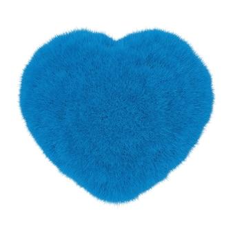白い背景の上の青い毛皮からの心。 3dレンダリング