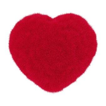 白い背景の上の赤い毛皮からの心。 3dレンダリング