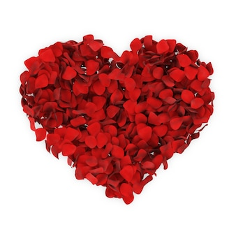 Heart from red rose petals