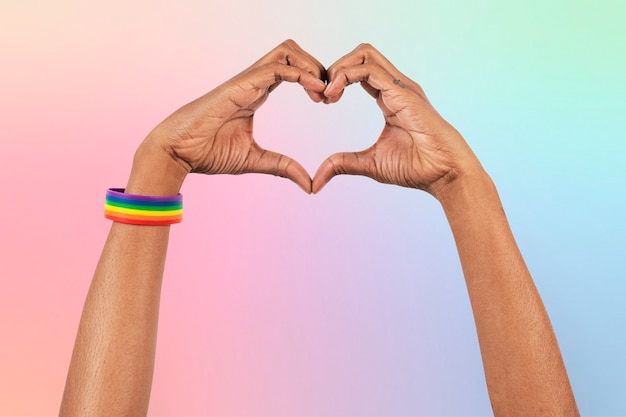 Heart hand gesture lgbtq+ ally campaign