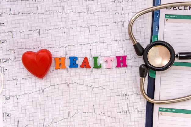 心電図と聴診器による心臓の健康の概念