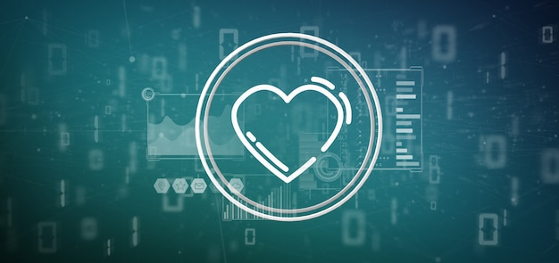 Heart icon surrounded by data
