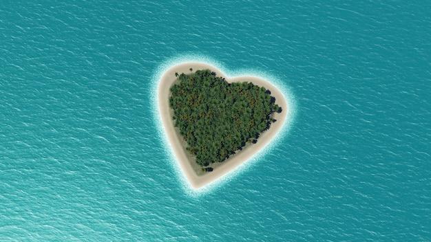 3d rendering di un cuore a forma di isola nel mare con palme