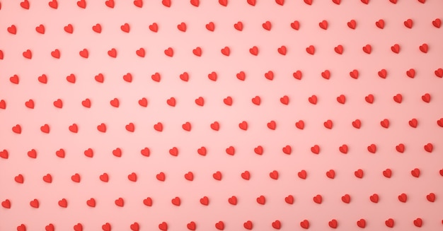 Heart love symbol 3d rendering pattern, valentine`s day concept poster, banner or background