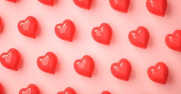 심장 사랑 기호 3d 렌더링 패턴, 발렌타인 데이 컨셉 포스터, 배너 또는 배경