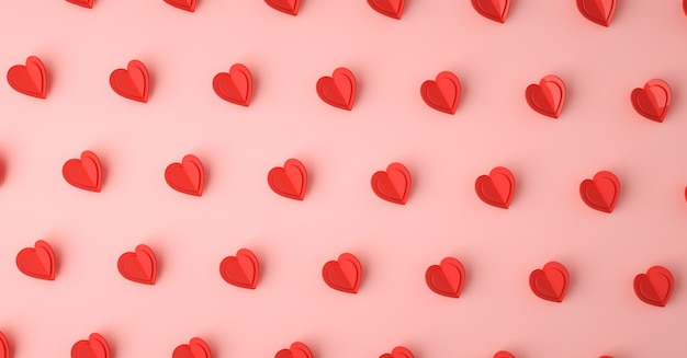 Heart love symbol 3d rendering pattern, valentines day concept poster, banner or background
