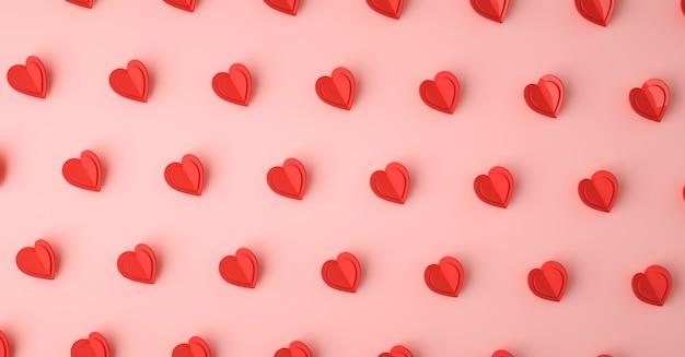 ハート愛シンボル3dレンダリングパターン、バレンタインデーのコンセプトポスター、バナーまたは背景