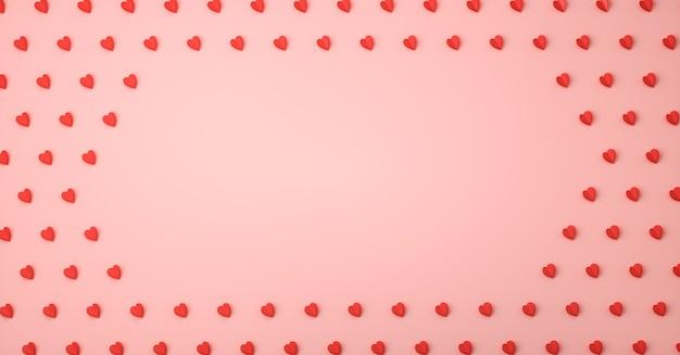 심장 사랑 기호 3d 렌더링, 발렌타인 데이 컨셉 포스터, 배너 또는 배경