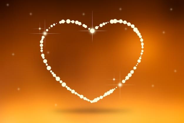 Heart of love valentines day. valentines heart  frame. orange - pink background.