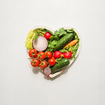 Heart made of different kind of vegetables