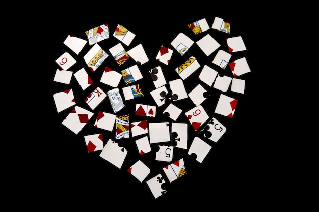 Heart made of pieces of playing cards