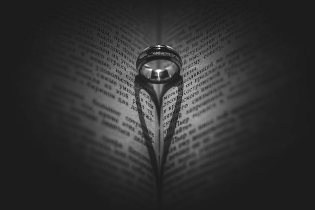 本と指輪で作ったハート