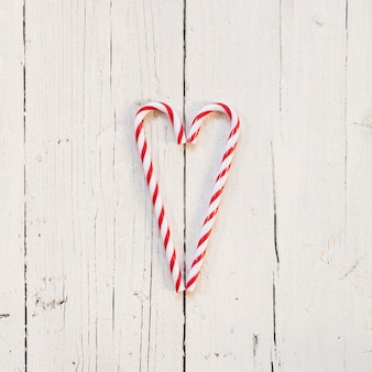 Heart made with candy cane for christmas
